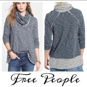 Free People Beach Cowl Neck Funnel Gray Sweater!